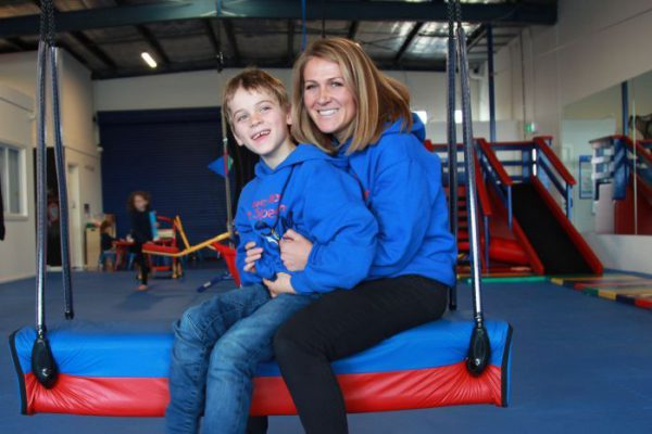 sally johnson and her son digby at we rock the spectrum autism friendly gym